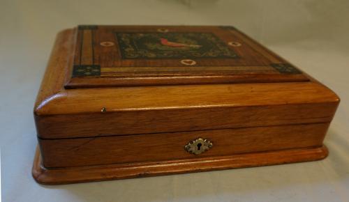 Victorian folk art poker chip and card box c1880