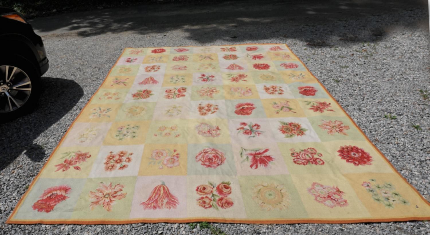 Vintage French hooked wool floral rug