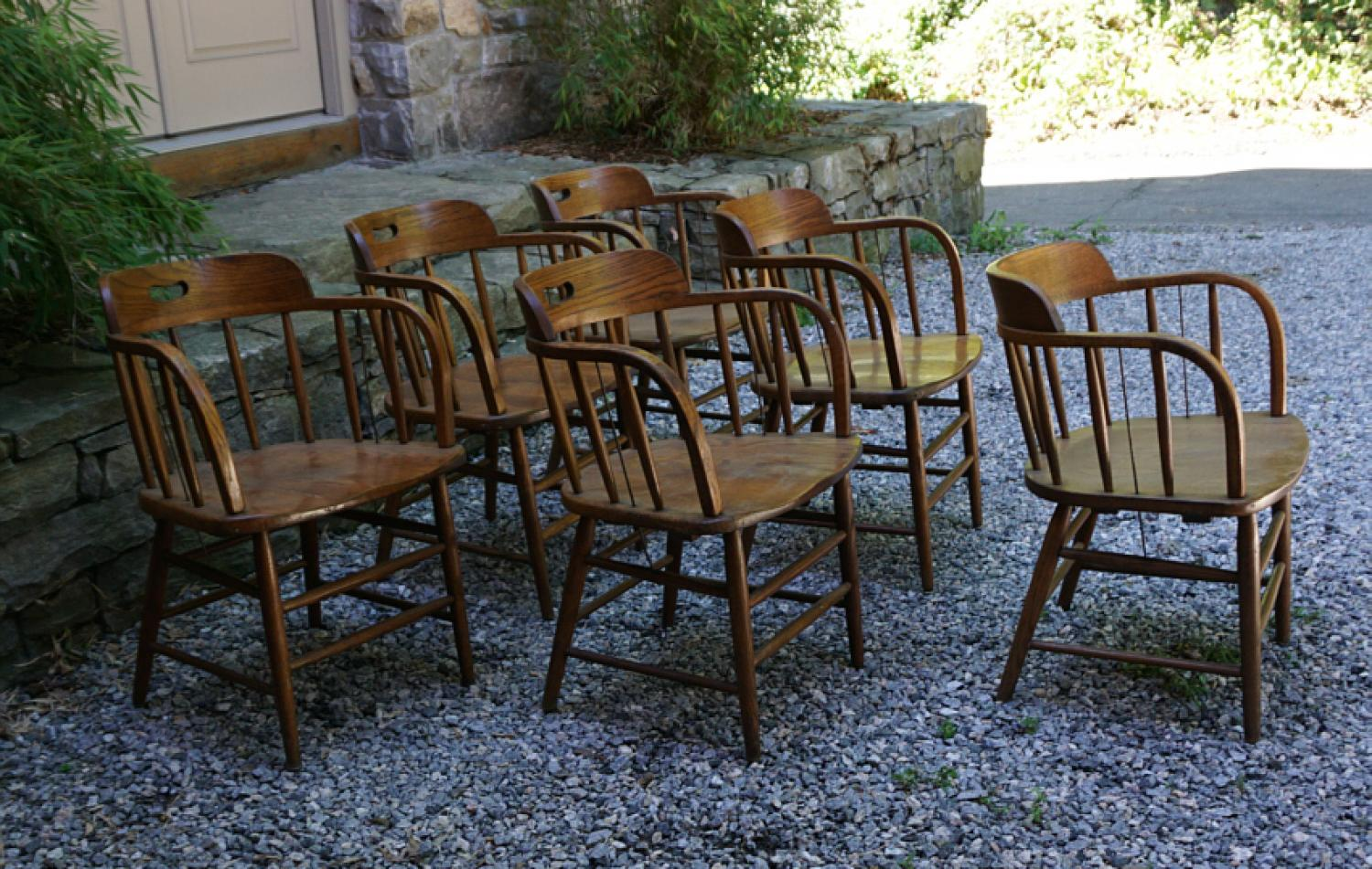 Boling Chair Company vintage oak firehouse chairs