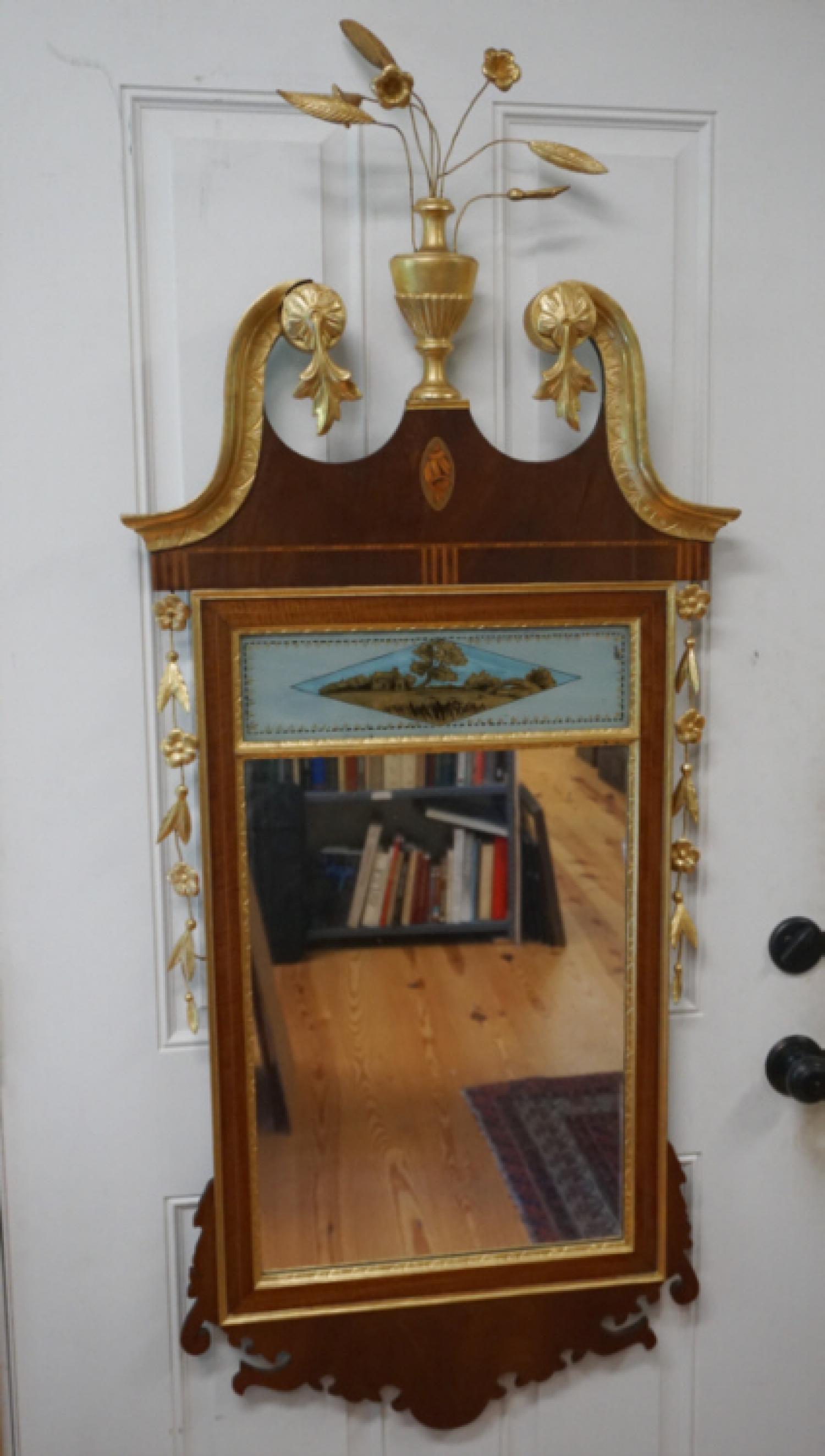 Nathan Margolis Federal style pediment top mirror