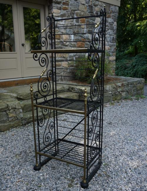 Vintage French brass and iron bakers rack