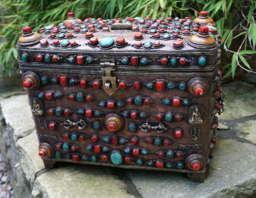 Antique Tibetan copper jewel box