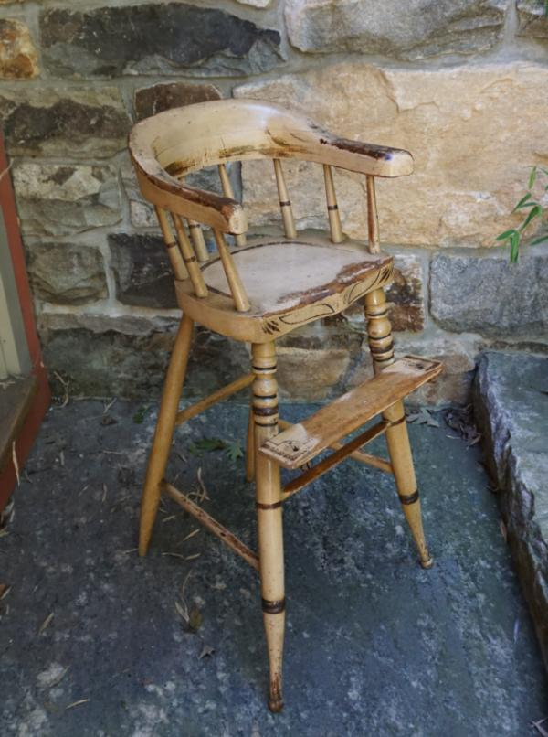 Antique New England Painted Pine High Chair