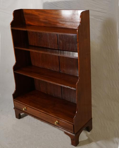 Antique English mahogany bookcase with drawer c1825