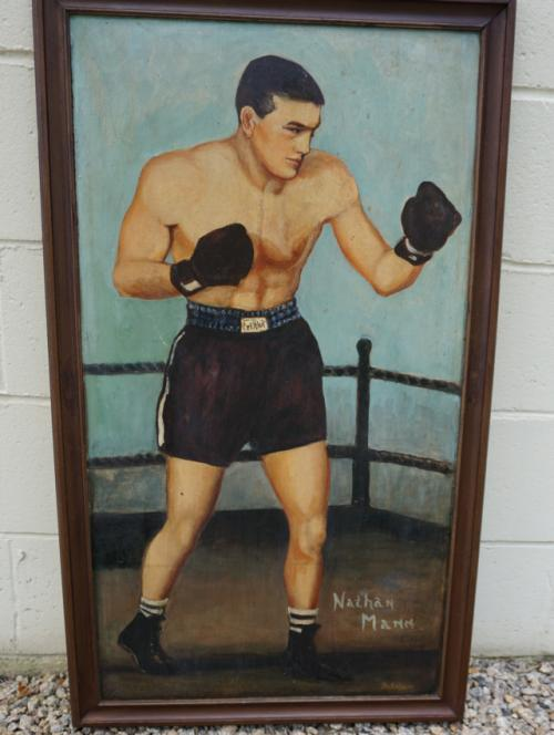 Vintage oil painting of boxer Nathan Mann