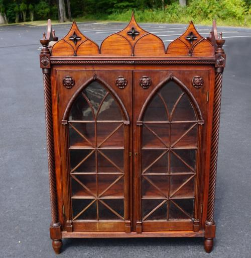 American Gothic style mahogany cabinet