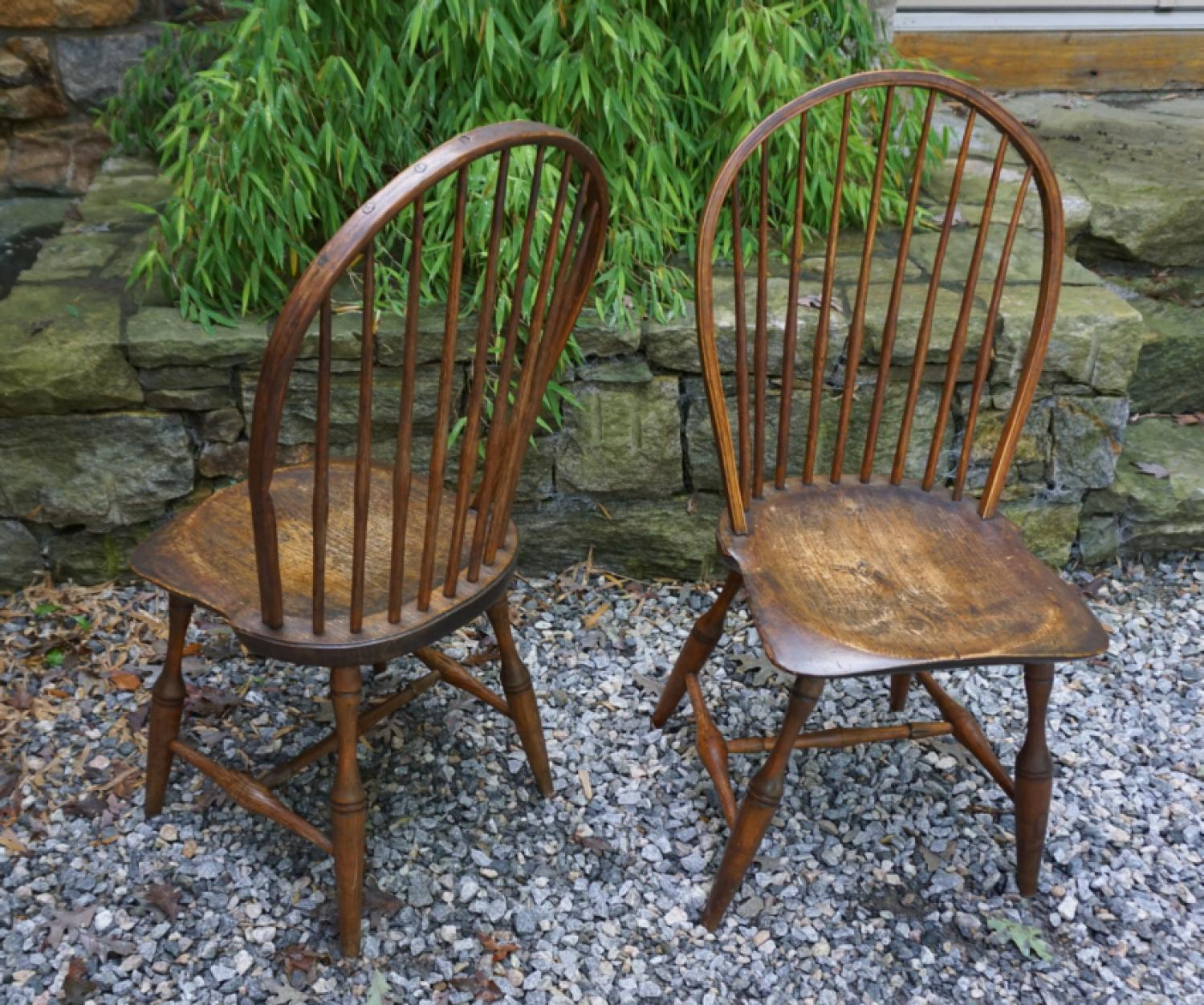 Antique pair of New England bow back Windsor chairs