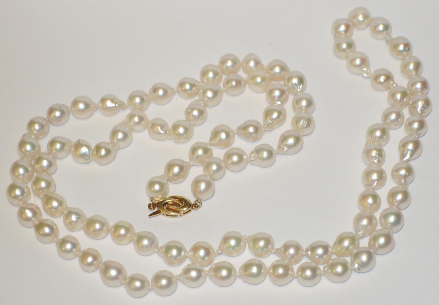 Natural baroque pearl opera length necklace