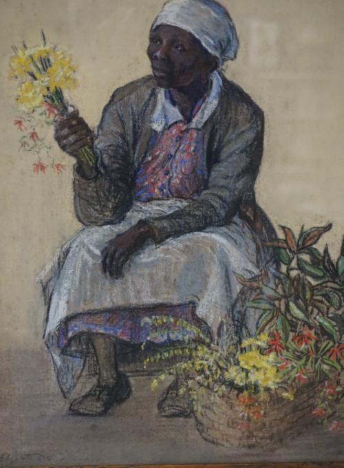 Elizabeth ONeill Verner pastel of a flower seller
