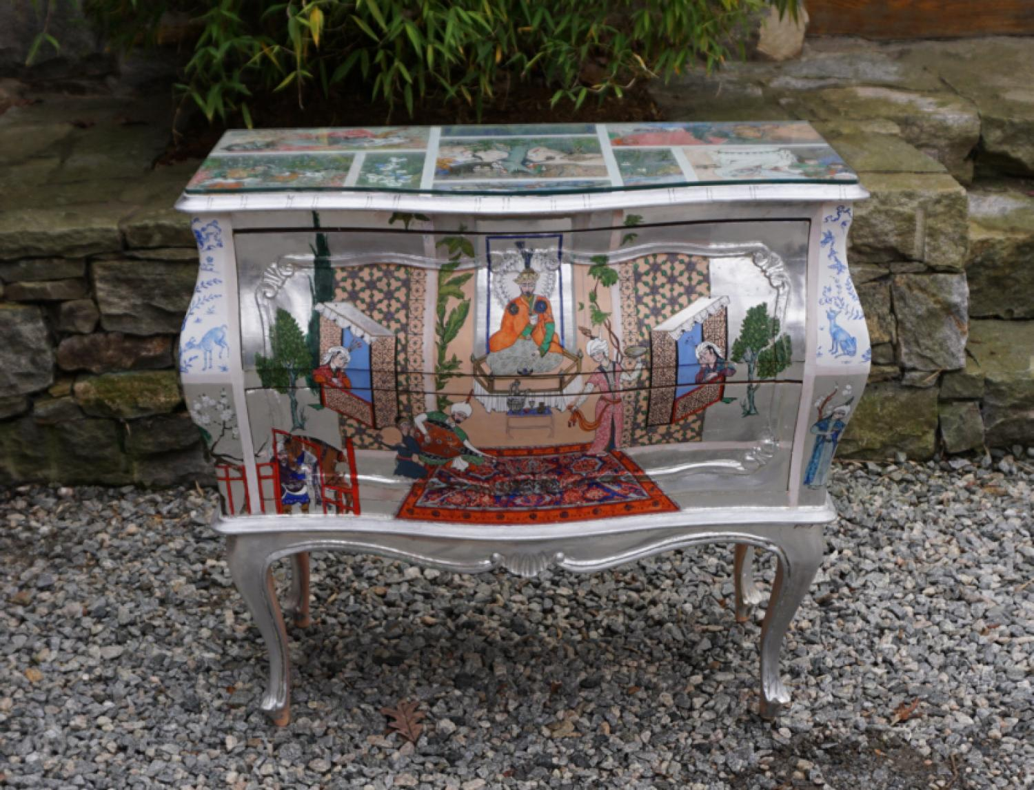 Vintage bombe chest painted in Indian Mughal style