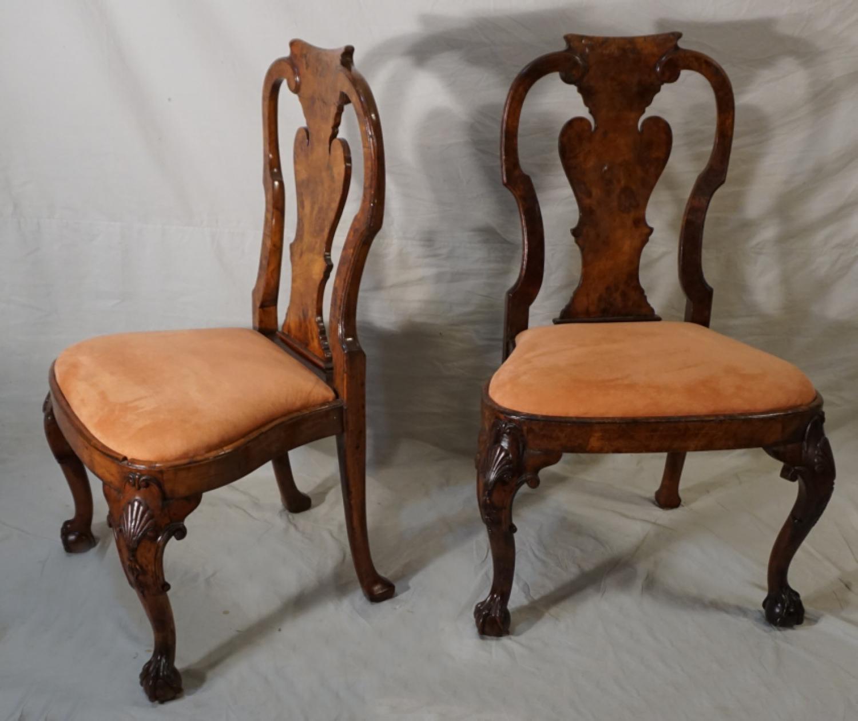 Antique Georgian style pair of walnut chairs
