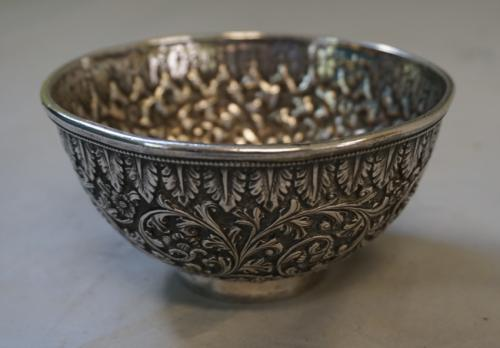 British Colonial Indian silver repousse bowl c1800
