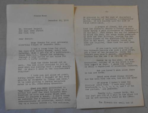 Jerome Kern signed letter to Bernard Dougall NYC 1935