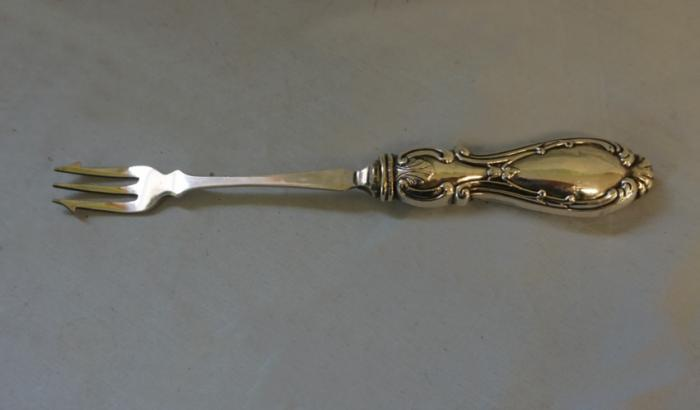 Antique English 19thc serving fork with sterling handle