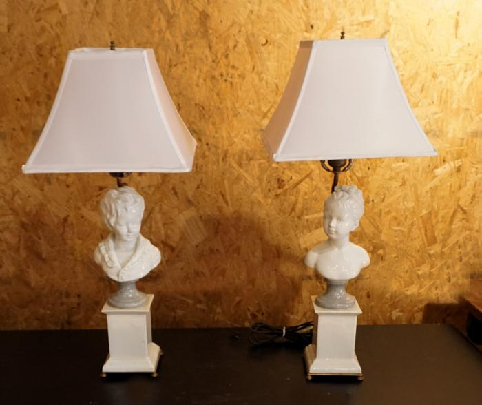 Pair of F Kessler porcelain figural lamps c1950