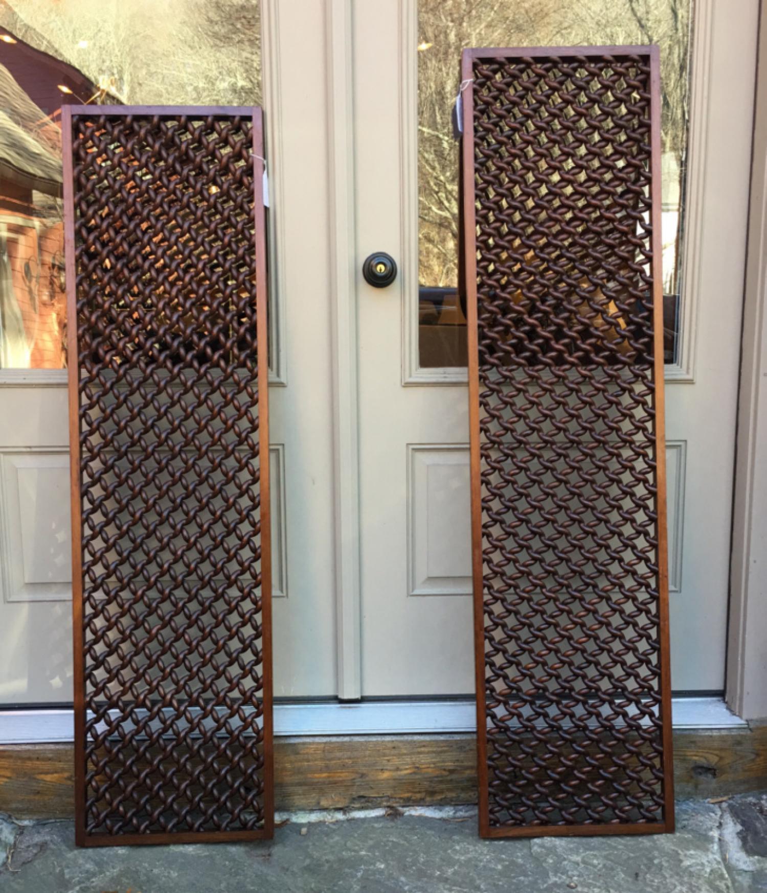 Pair of walnut twist grille window screens c1890
