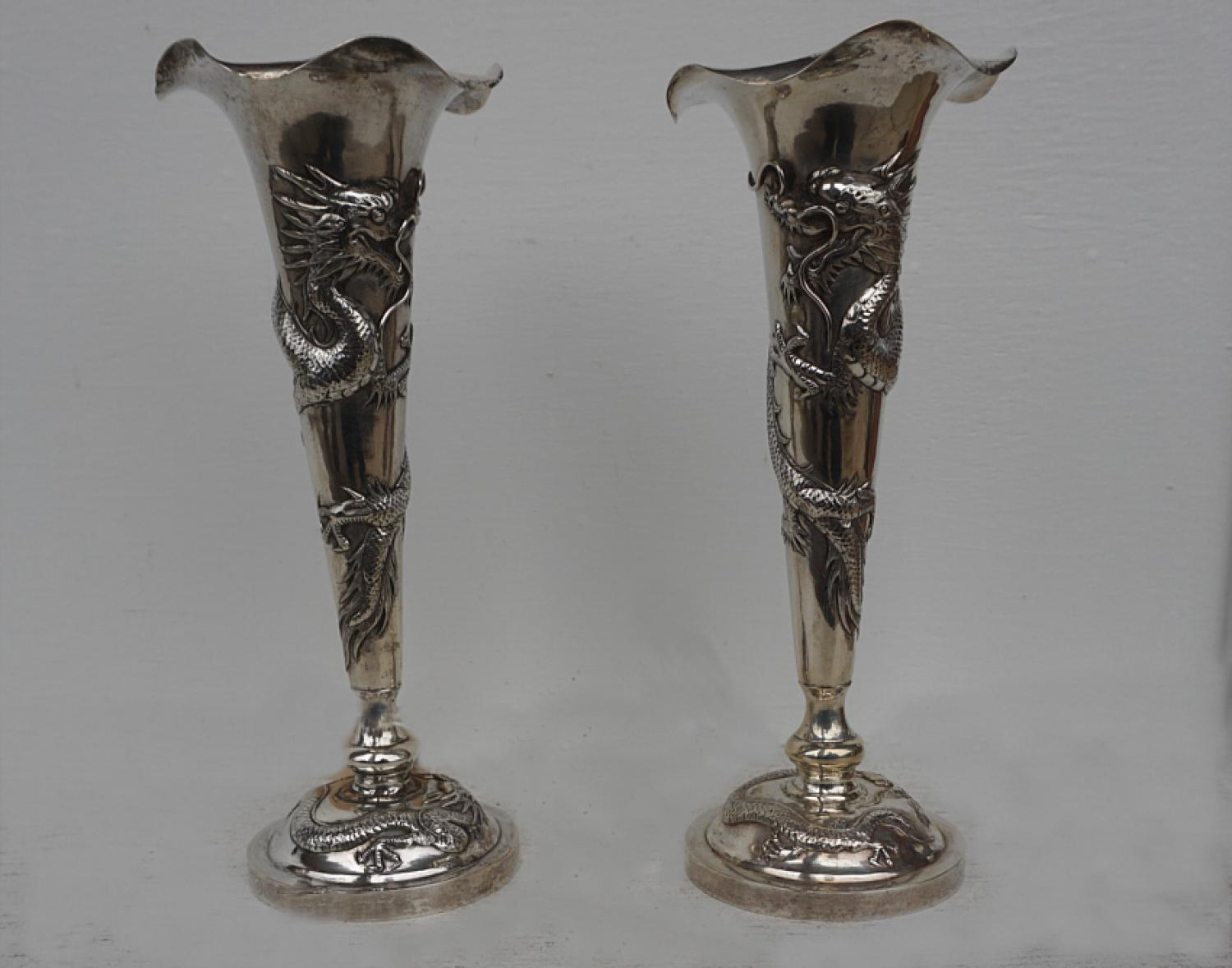 Chinese Export sterling silver candlesticks c1930