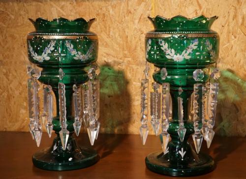 Victorian blown and cut glass lusters c1850