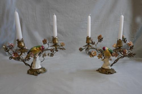19thc French porcelain parrot candelabras