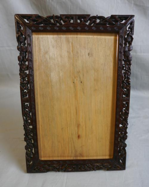 Chinese carved frame with beveled glass c1880