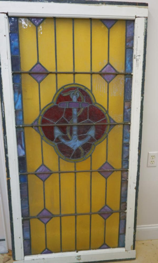 Antique Leaded Stained Glass Anchor Window