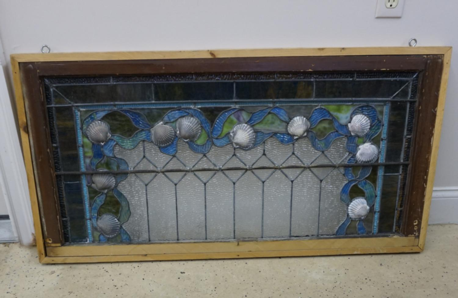 Antique leaded stained glass seashell window