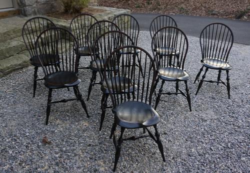 D R Dimes set of 10 bow back Windsor chairs