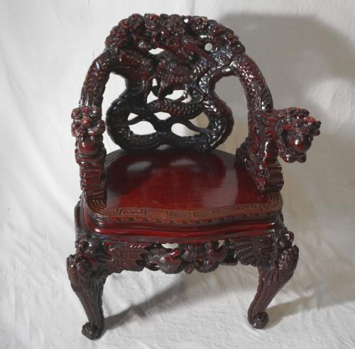 Antique Chinese dragon arm chair c1880