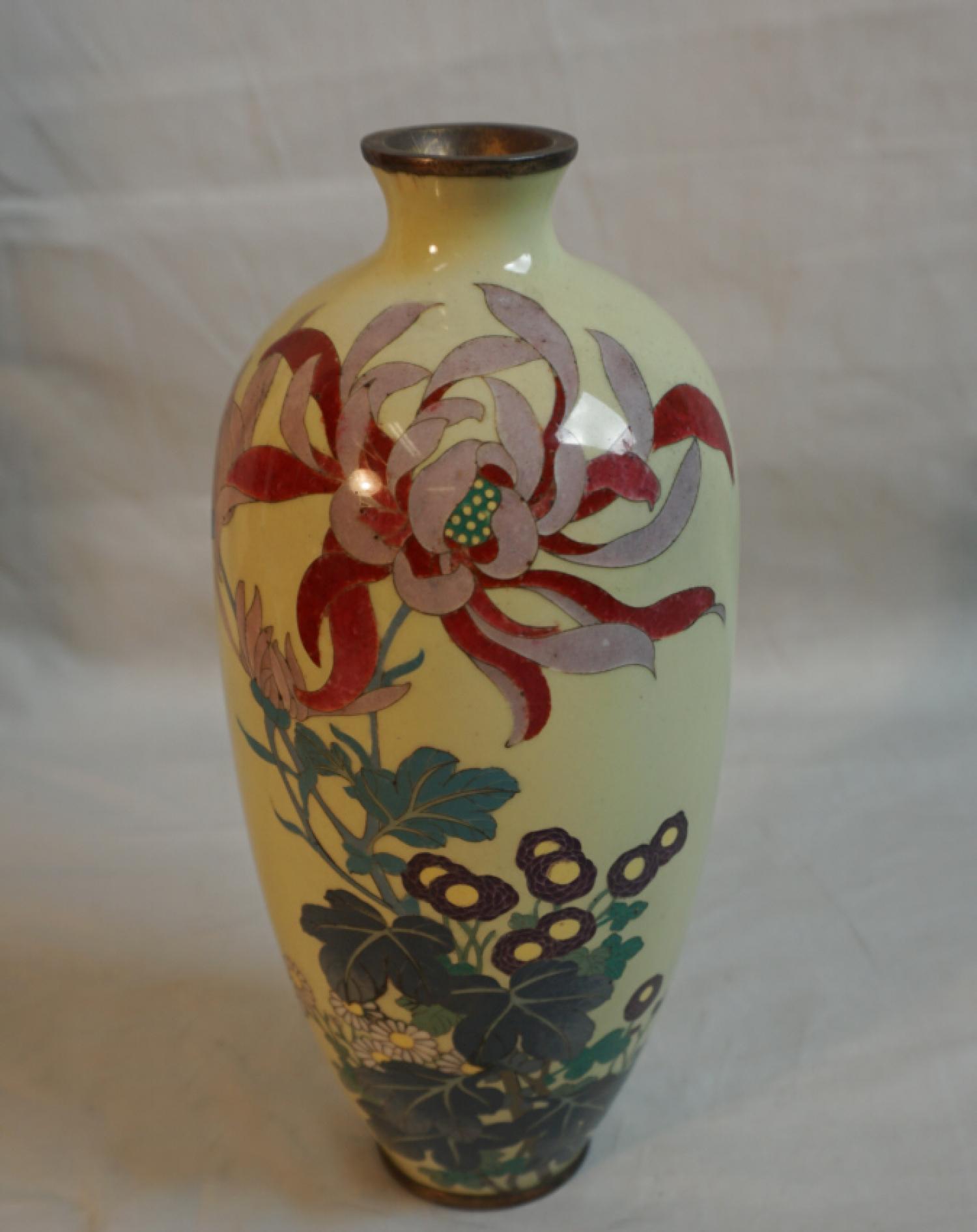 Japanese yellow cloisonne vase c1880