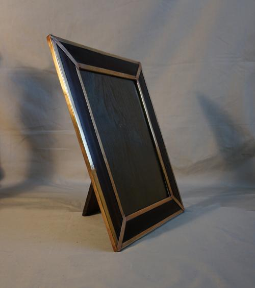 Art Nouveau bronze and rosewood standing photo frame c1890