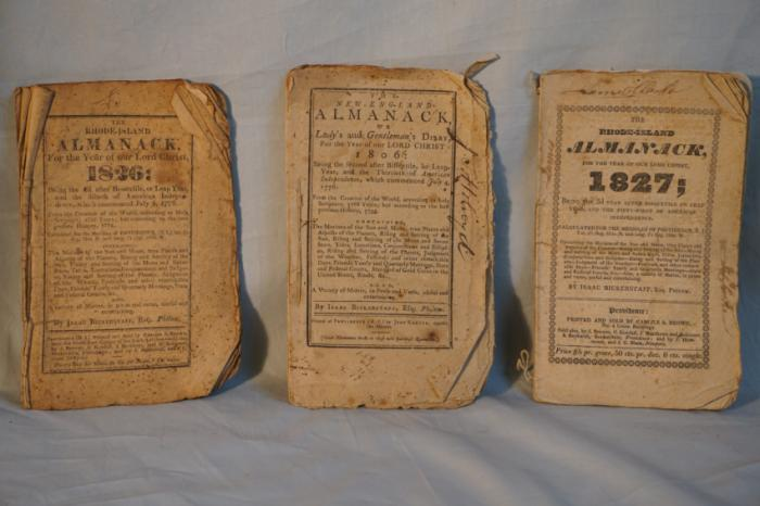 New England Almanacks dated 1806 1826 1827