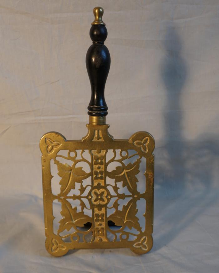 Antique English brass fireplace trivet c1850