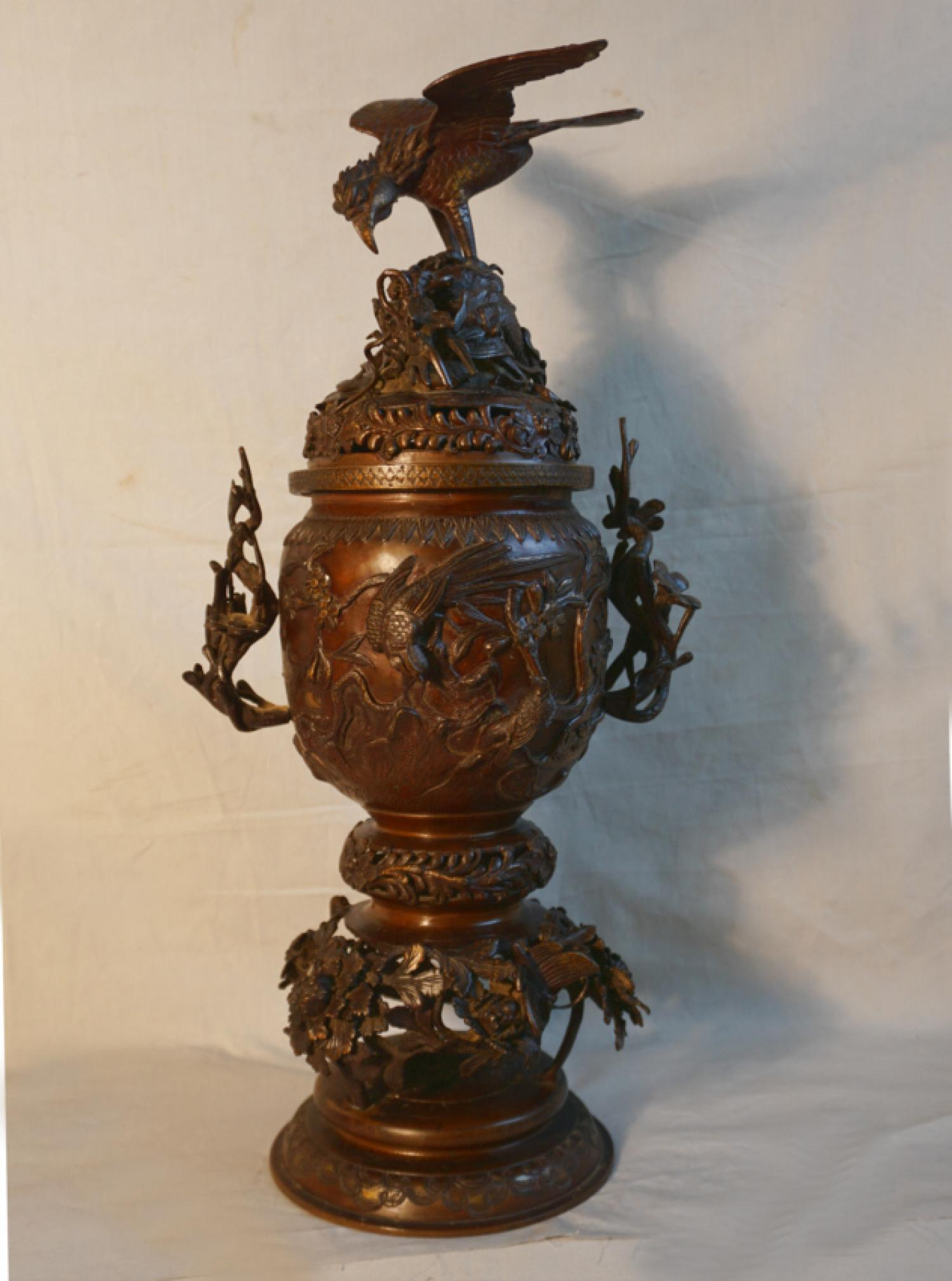 Antique Japanese bronze incense urn with eagle finial