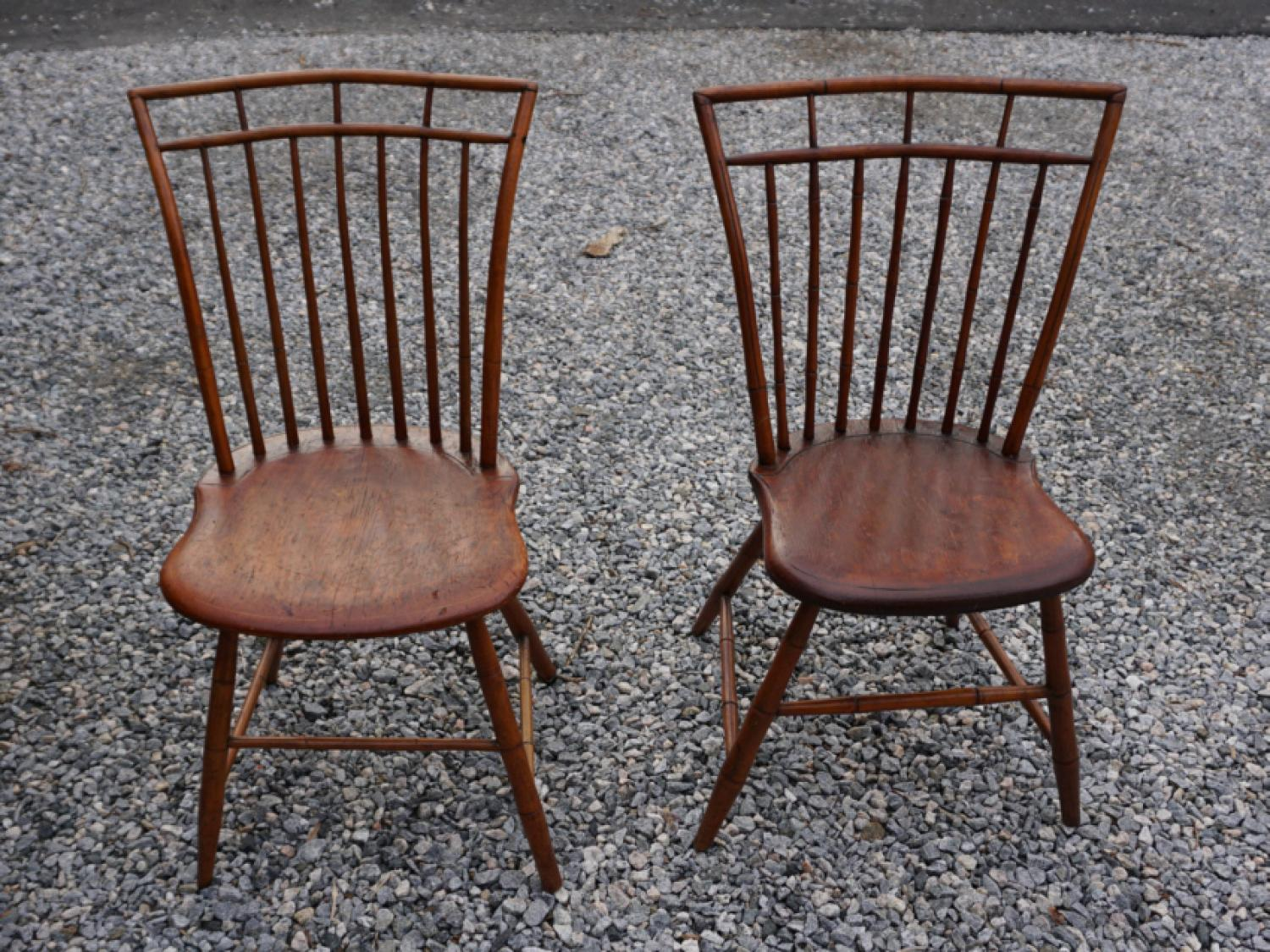 American birdcage Windsor pair of chairs c1800