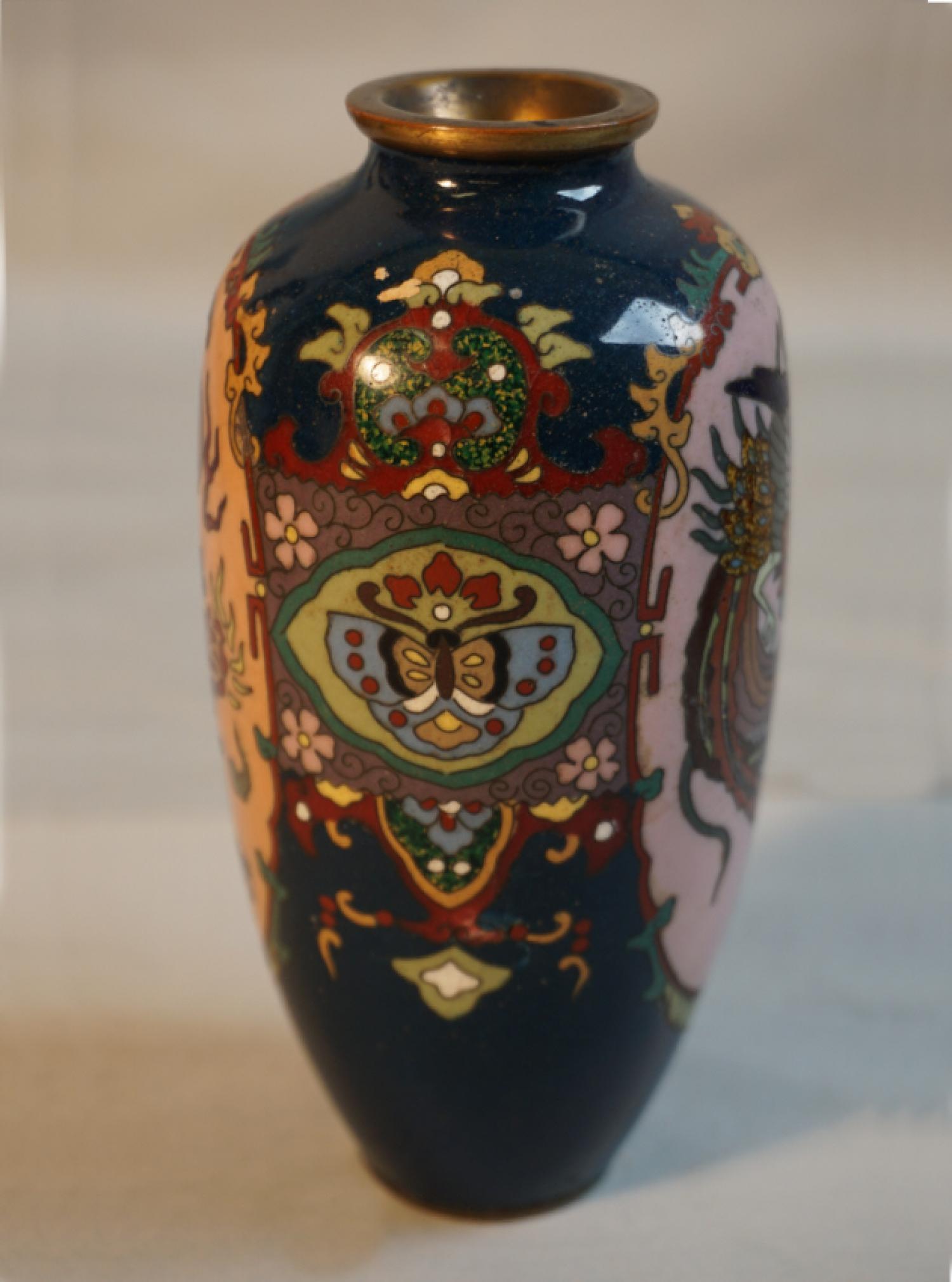 Antique Japanese cloisonne vase birds
