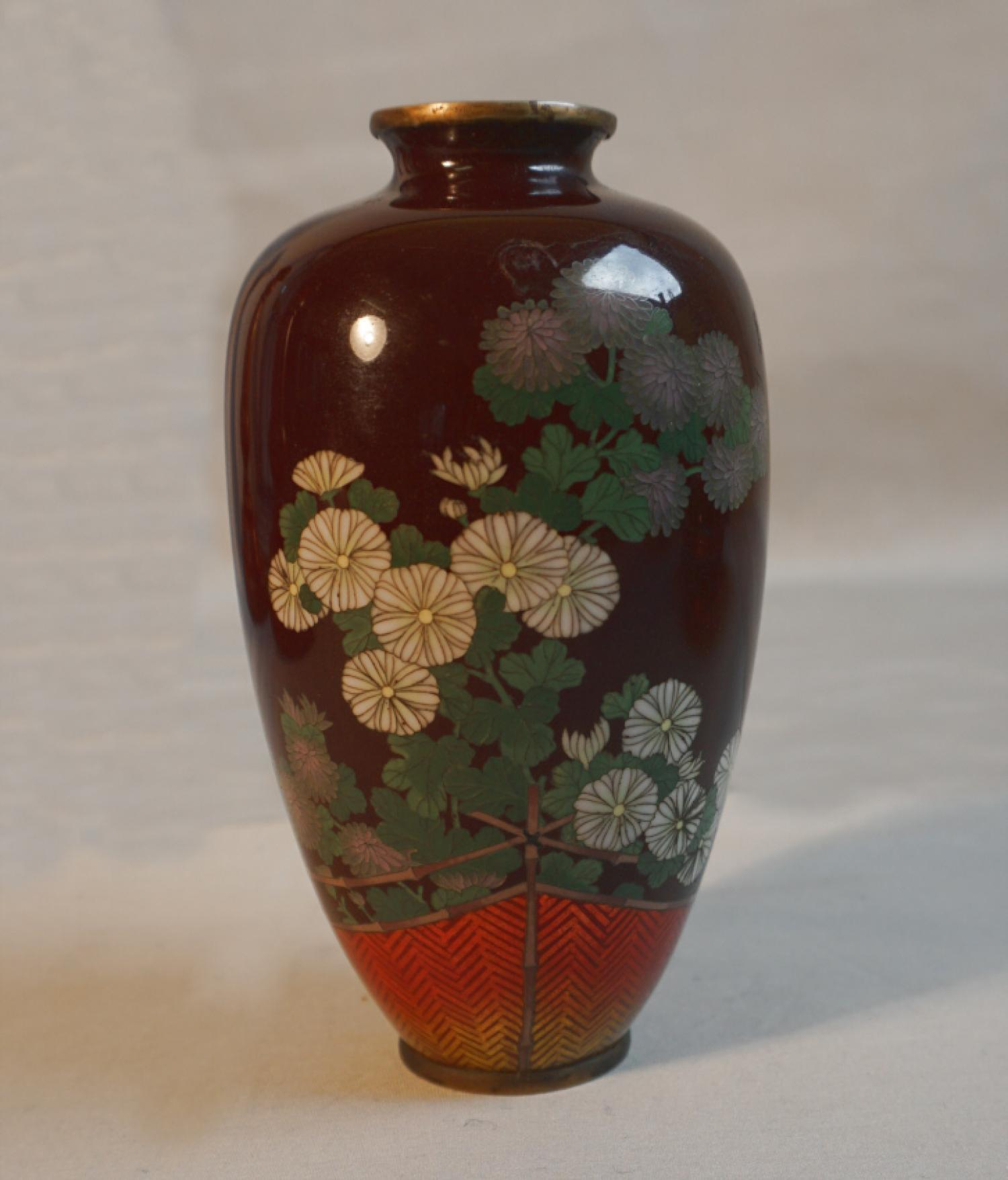 Antique Japanese cloisonne vase with chrysanthemums