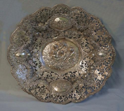 Antique Continental 835 pierced silver bowl with putti