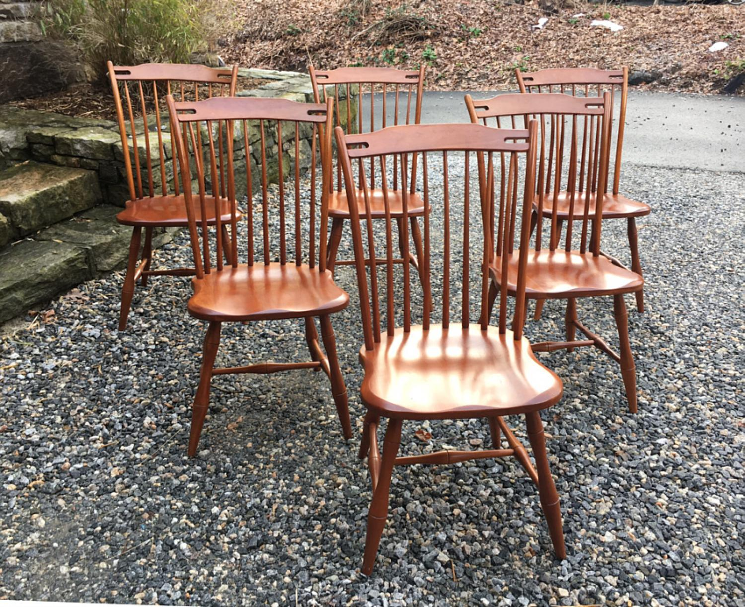 Set of 6 Tom Seely cherry Wellesley chairs