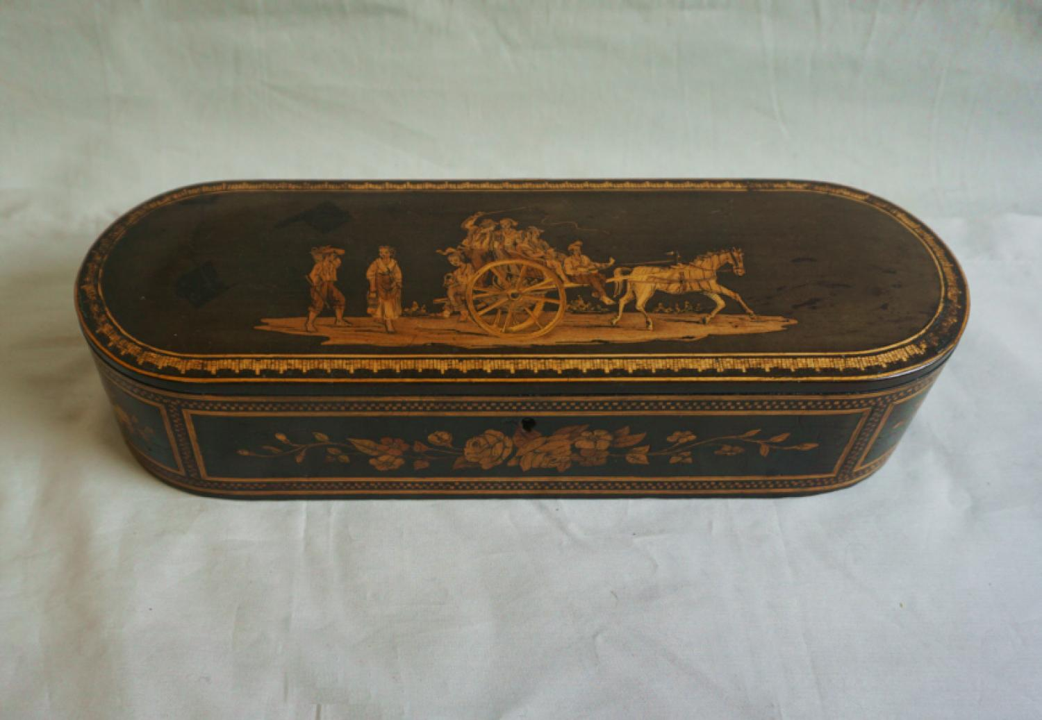 19thc Continental dresser box with scenic inlay