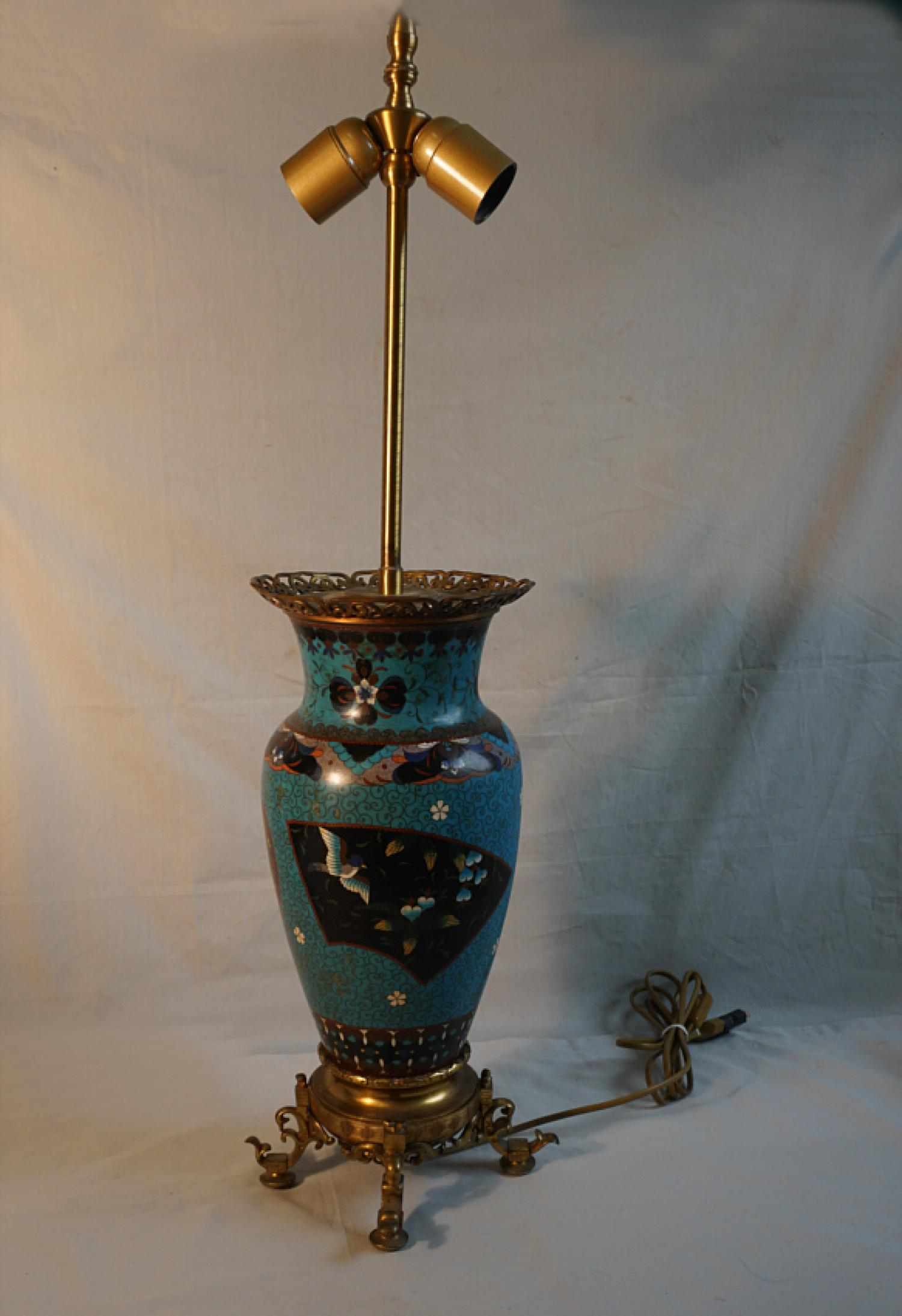Antique Japanese cloisonne lamp with bronze mounted base c1870