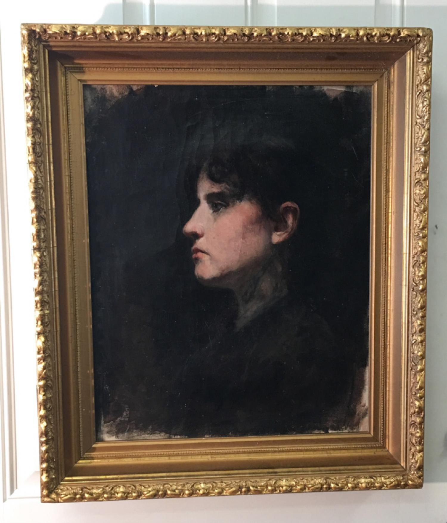 Fannie Burr oil profile portrait of a woman  c1880