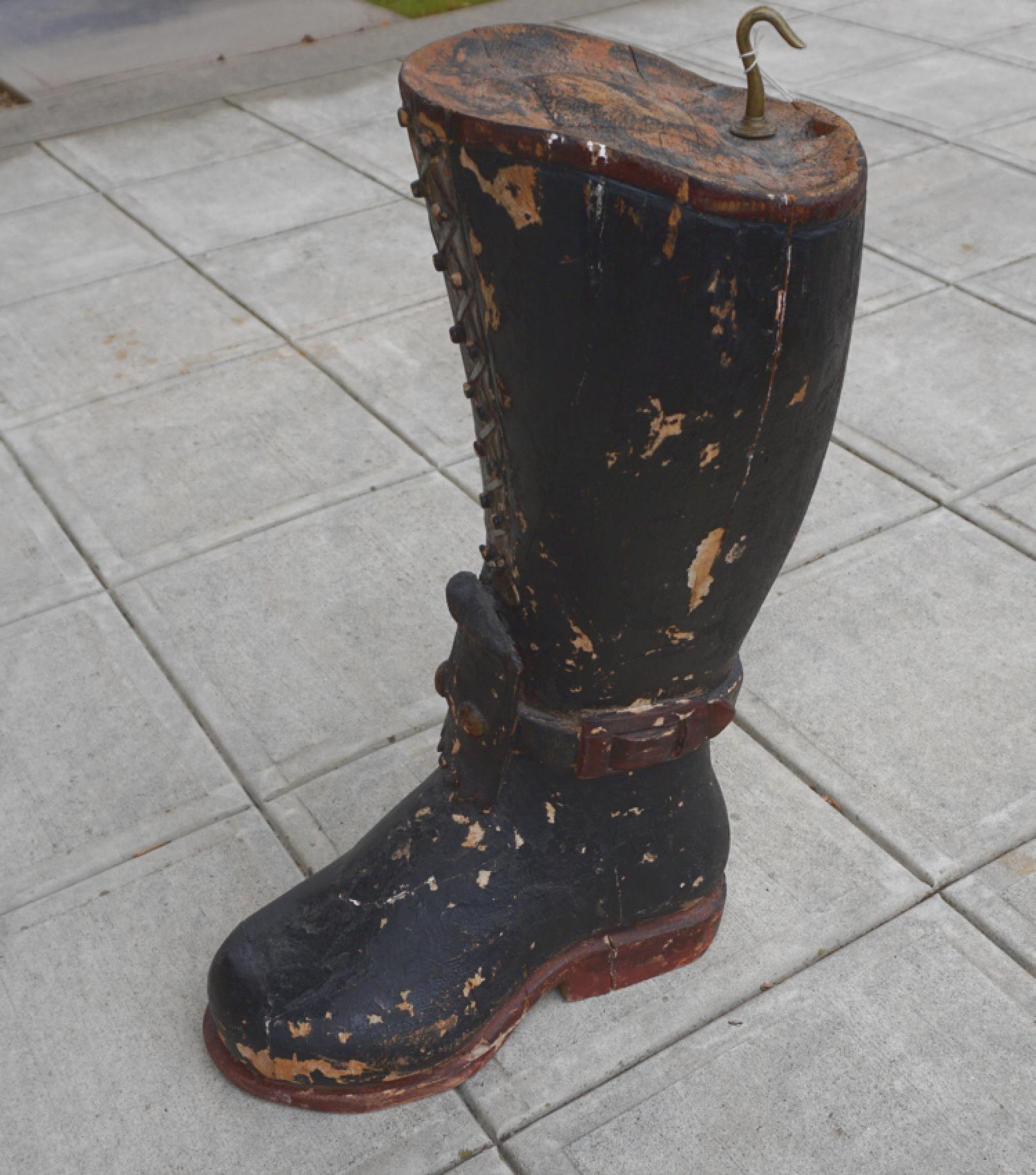 Antique folk art carved wooden boot trade sign pilgrim style c1800