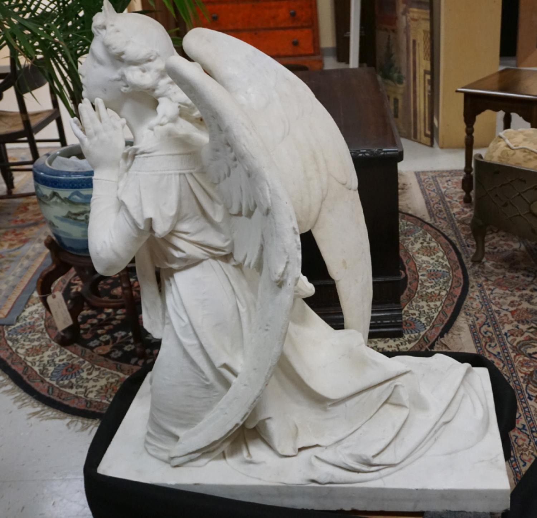 Vintage Florentine marble angel sculpture
