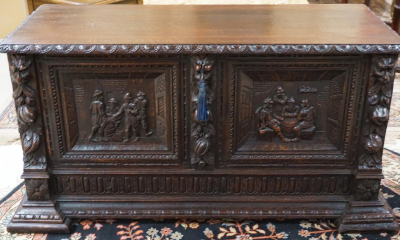 Renaissance style carved oak storage chest c1880