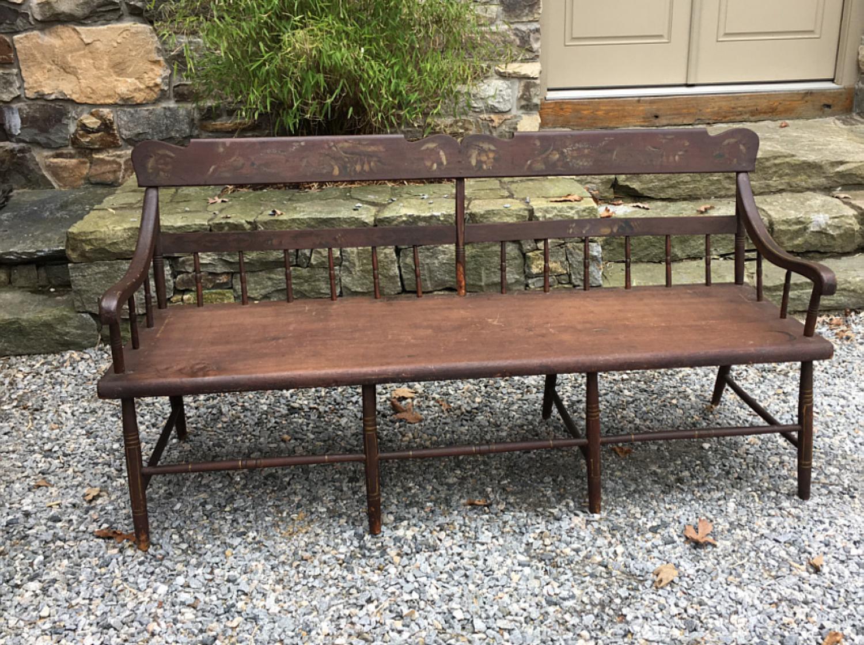 Early Pennsylvania plank bottom Windsor settee c1835