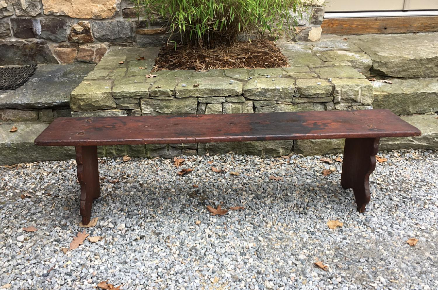 Early country pine plank bench c1800