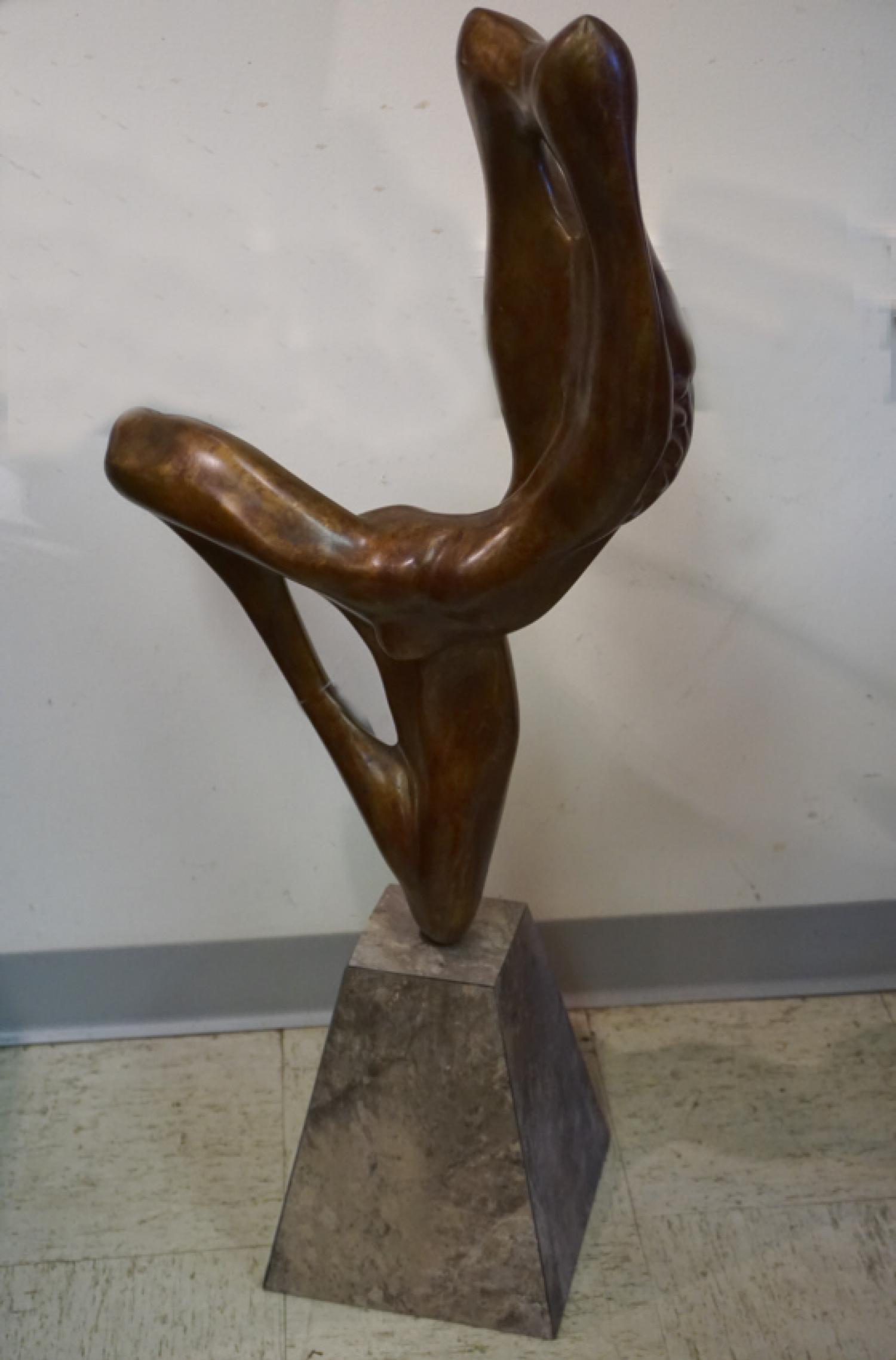 Contemporary modern abstract nude bronze on stand unsigned