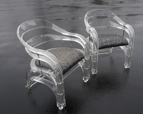 Pair of vintage Hills Manufacturing lucite arm chairs