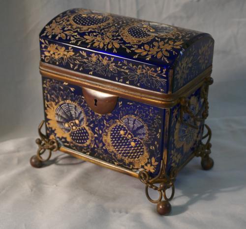 Moser 19th c enameled cobalt glass jewel casket