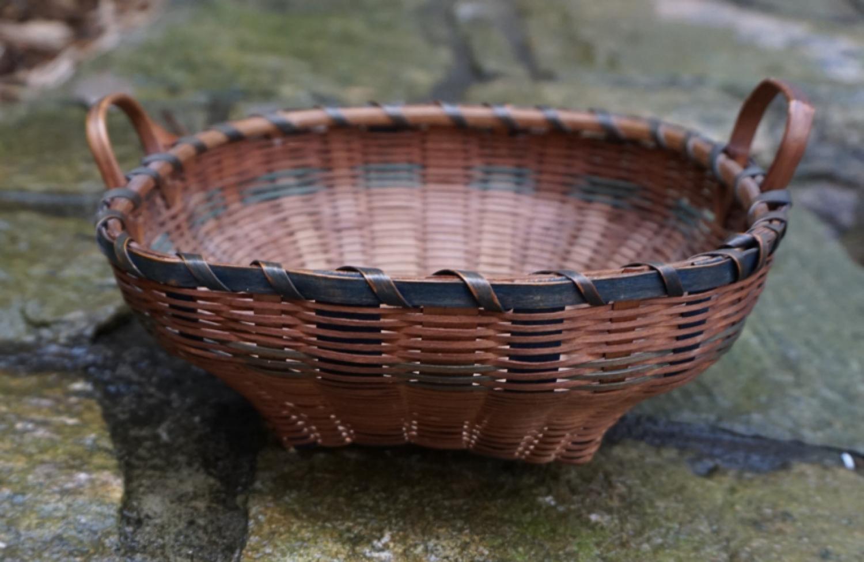 Vintage Eastern Woodland Indian painted splint basket c1920